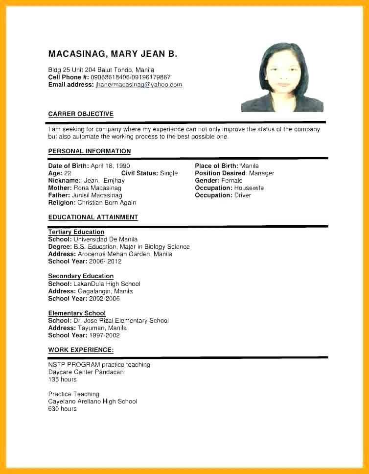 Sample Of Resume Format For Job Application Resume Templates