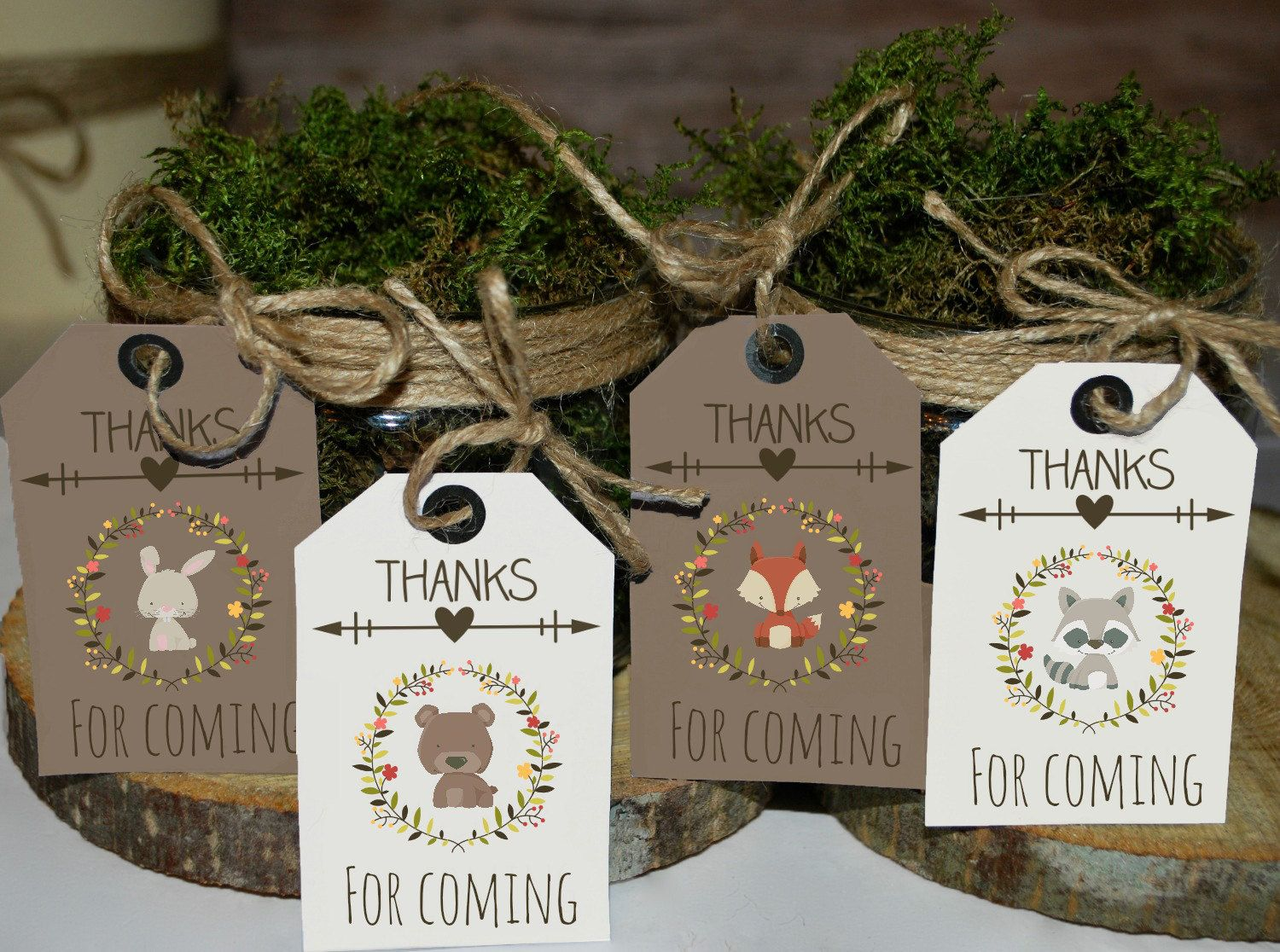 Woodland Favor Tags Printable, Woodland Baby Shower Tags, Woodland Birthday  Favors, Thank You