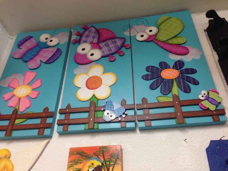 Triptico decoraci n ni a flores y libelulas pintura for Decoracion pared bebe nino