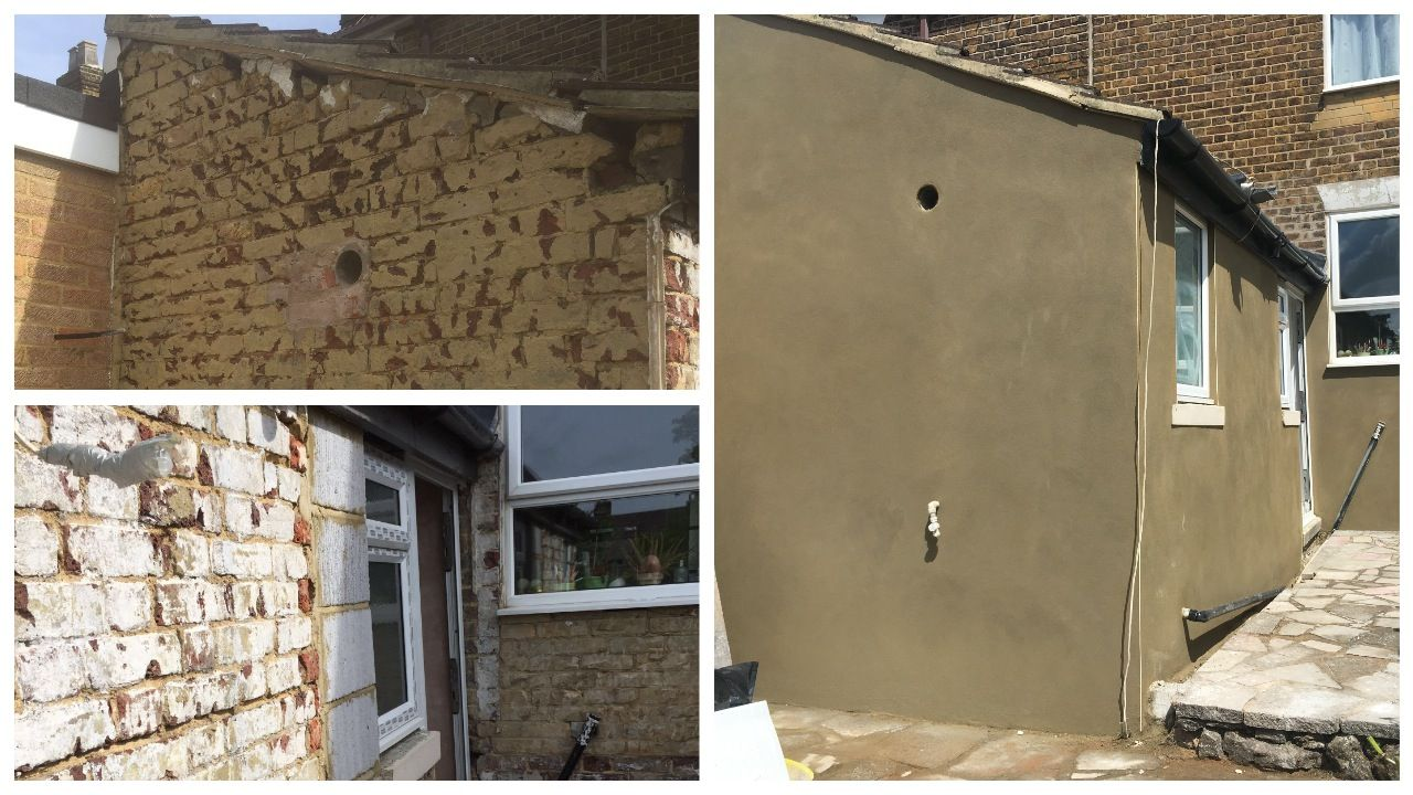 The old render on this job had all cracked and blown, it was hacked off then a sand and cement render was applied. Before and after photos.