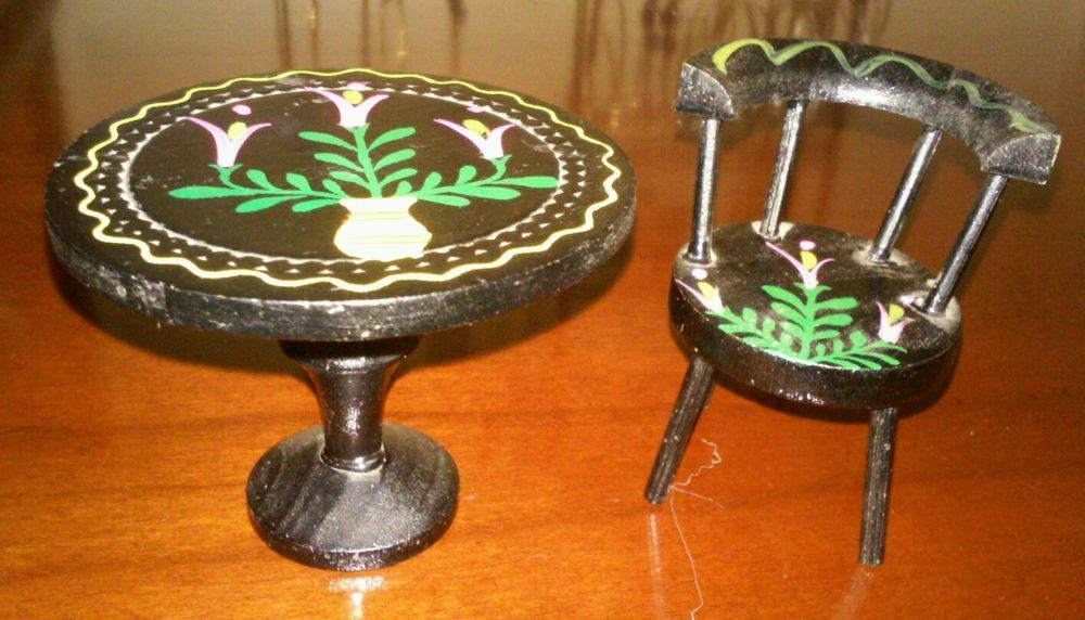 Antique Doll Miniature Dollhouse Hand Painted Chair and Table, Fomerz