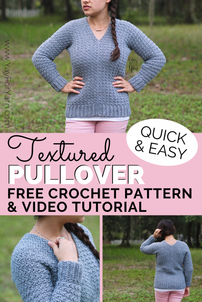 Photo of Textured Pullover – FREE Beginner-Friendly Crochet Sweater Pattern by Yay For Yarn | Yay For Yarn