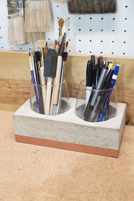 DIY Concrete Desk Organizer