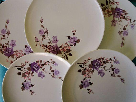 vintage purple rose melmac dinner plates Texas Ware & vintage purple rose melmac dinner plates Texas Ware | Home ...