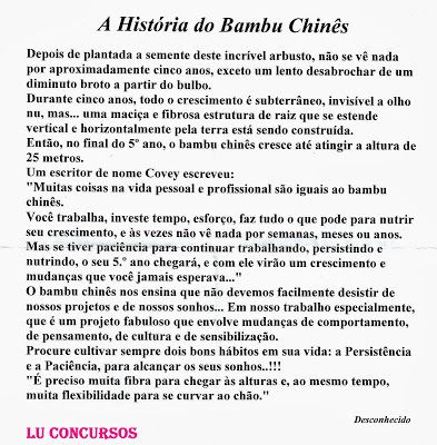 Lu Concursos A História Do Bambu Chinês E Os Concurseiros