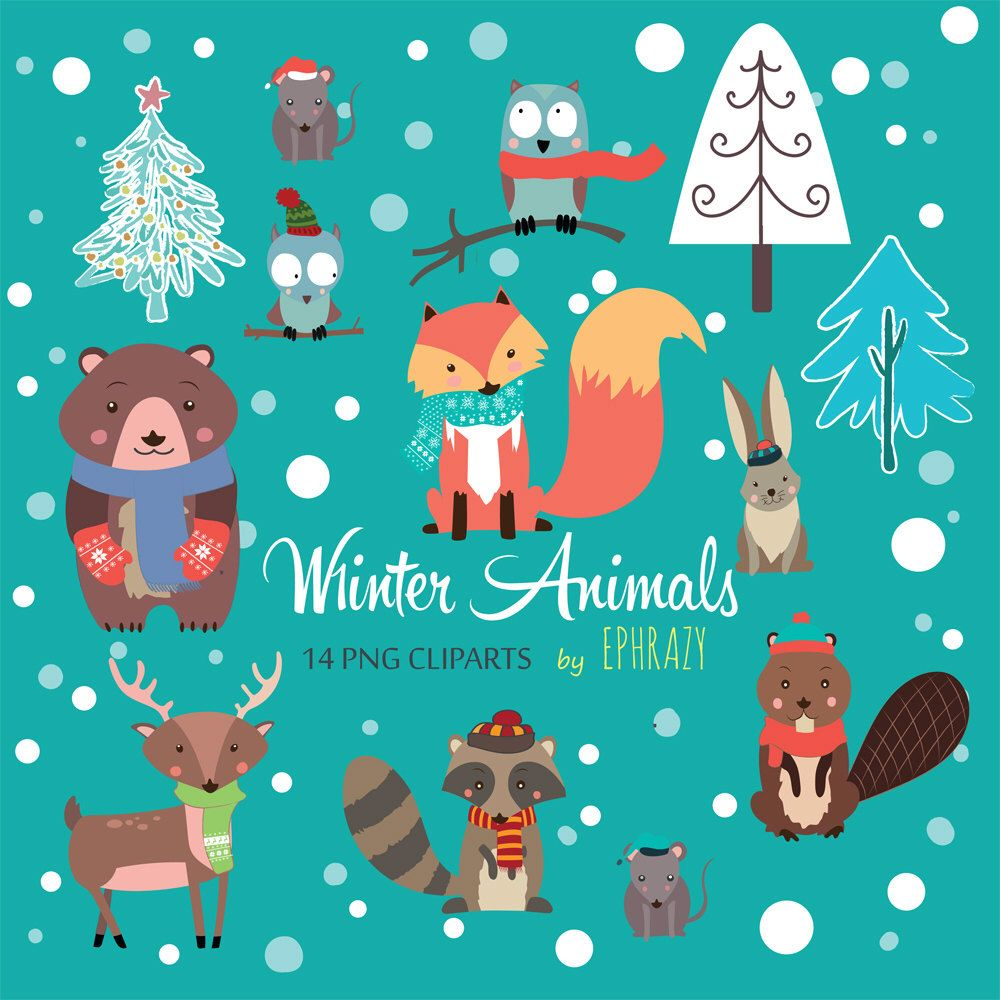 Winter animals clipart. Forest animals clipart. Woodland