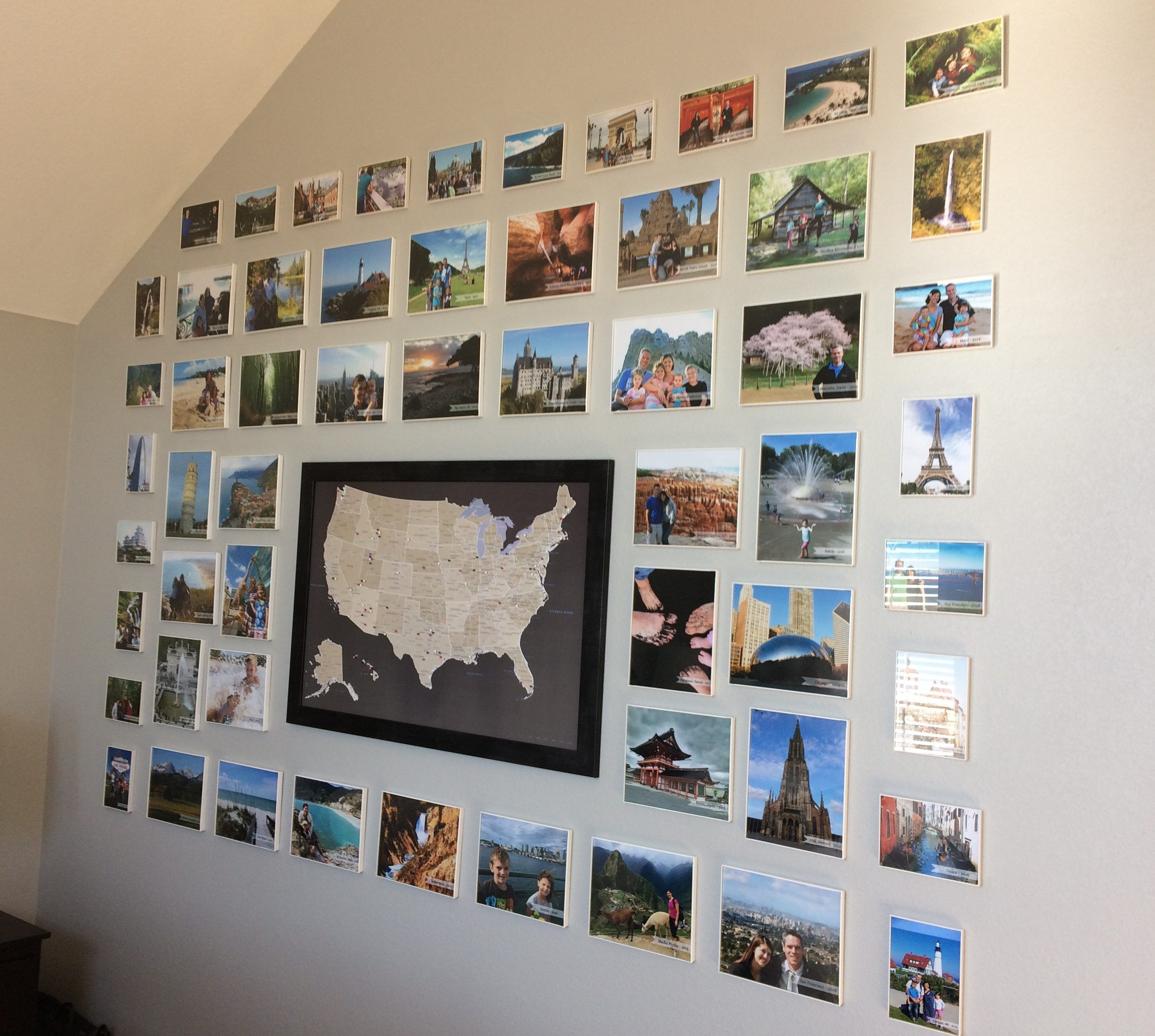 Create A Travel Wall That Inspires Family Memories In Home Decor Travel Wall Decor Travel Photo Wall Travel Wall