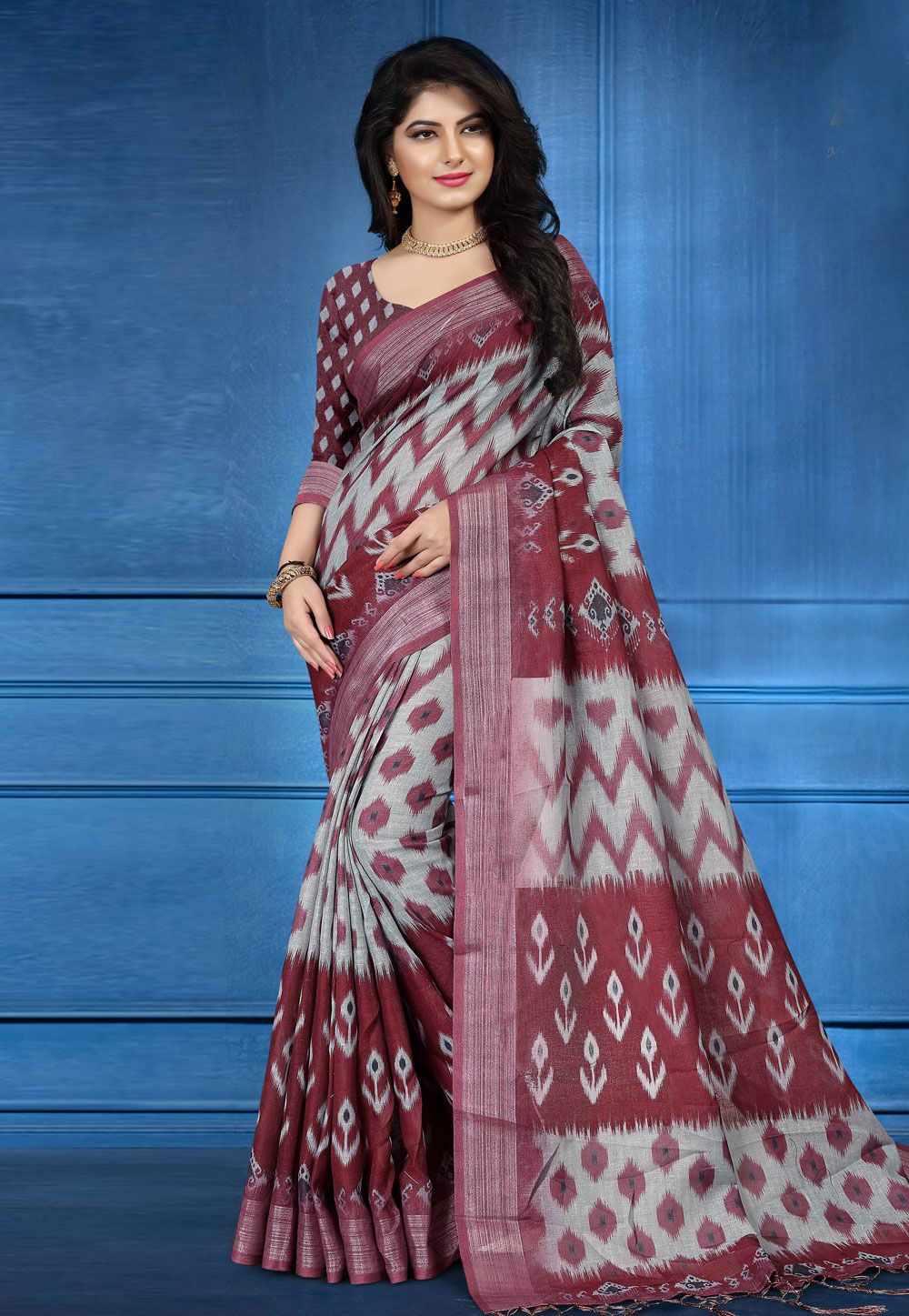82fa59afb675c4 Buy Gray Linen Printed Festival Wear Saree 161581 with blouse online at  lowest price from vast collection of sarees at Indianclothstore.com.