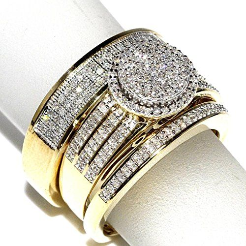 Bridal Rings Set Trio Ct Yellow Gold Halo Style Wedding Ring 5