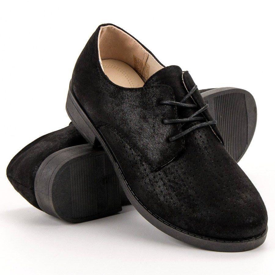 Bless Eleganckie Polbuty Damskie Czarne Womens Oxfords Oxford Shoes Shoes