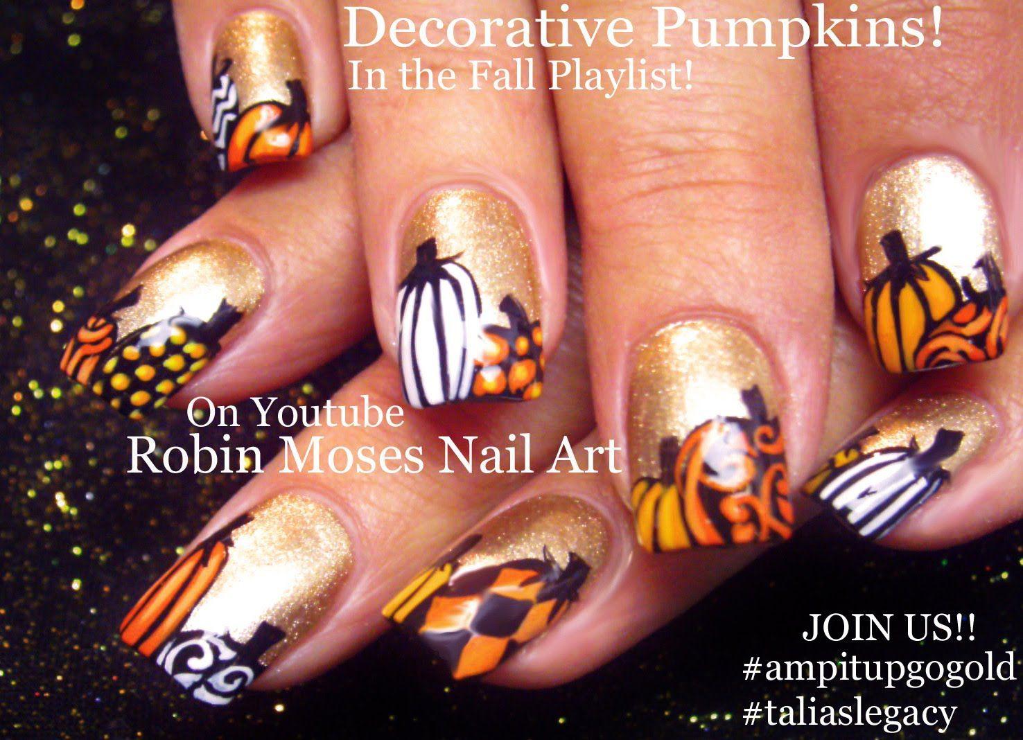 FALL Nail Art | Gold Nails with Pumpkins Nail Design Tutorial | Go ...