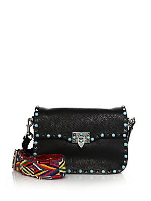 7f6907e077ea0 Purse re-makes with killer ribbon + cool studs. ~Valentino Rolling Rockstud  Guitar-Strap Leather Crossbody Bag
