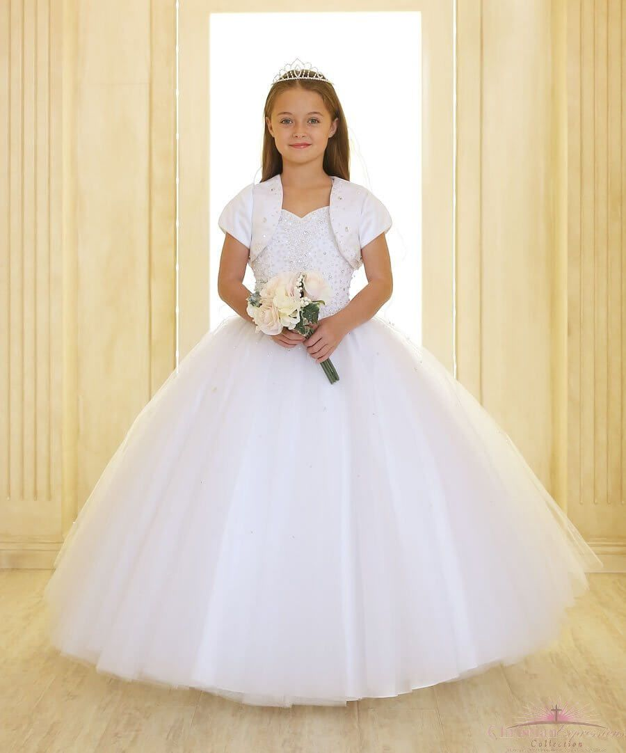 b3b45122294 First Holy Communion Dress with Sweetheart Neckline and Tulle Skirt ...