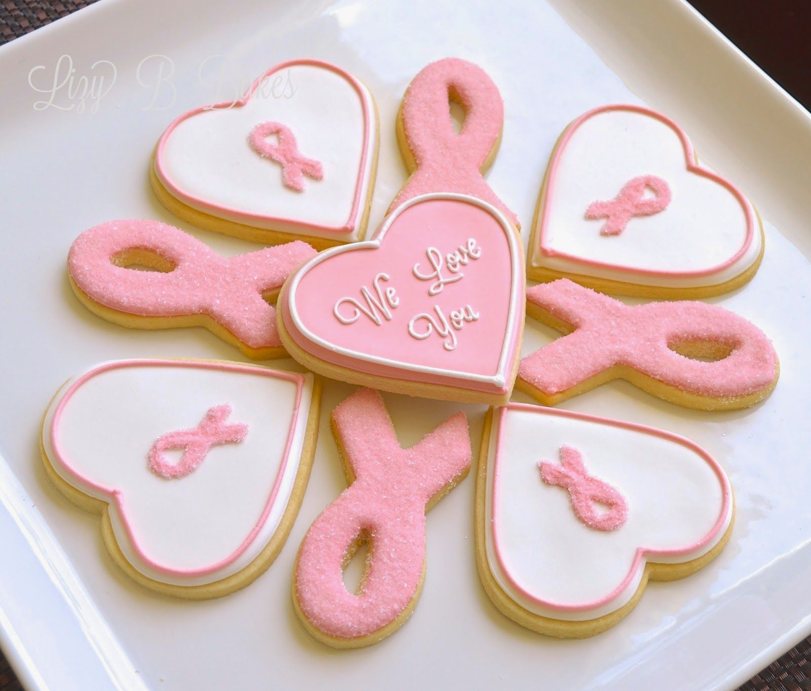 lizy b love and pink ribbon cookies cookie love pinterest