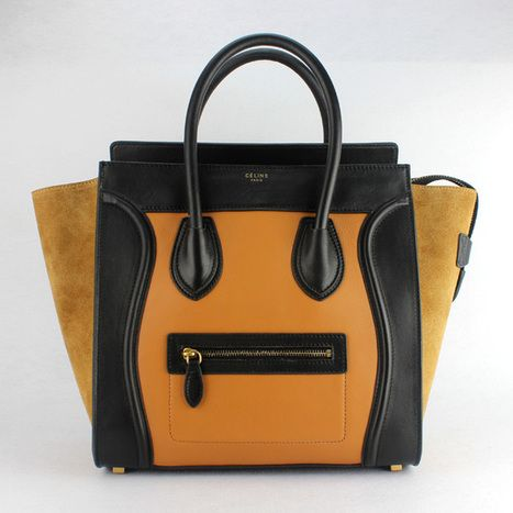 Celine Boston Bag Mini Totes Brown Black  20a19ea45db3a