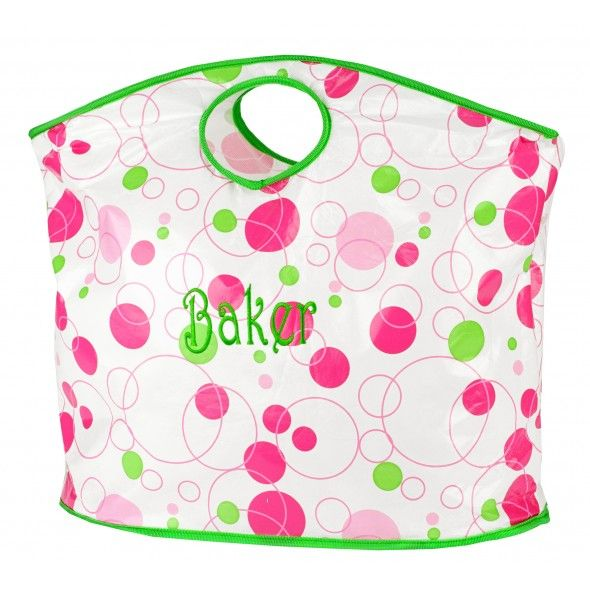 Monogrammed Cut Out Handle Tote Bag - Pink & Green Bubbles ($22.95)