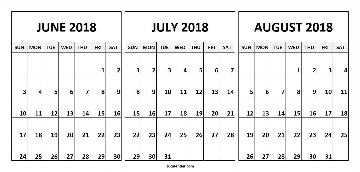 june july august 2018 calendar print