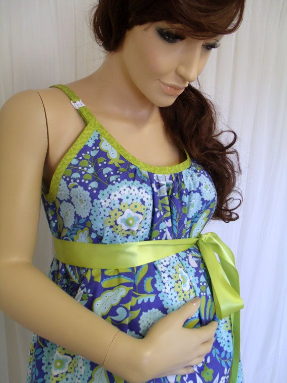 Blue Floral Maternity Hospital Gown, delivery nursing gown ...