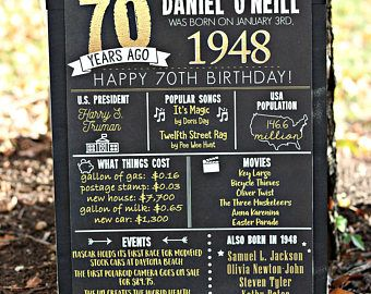 PRINTED 70th Birthday Poster Back In 1948 What Happened Decorations Black And Gold Party Decor Vintage