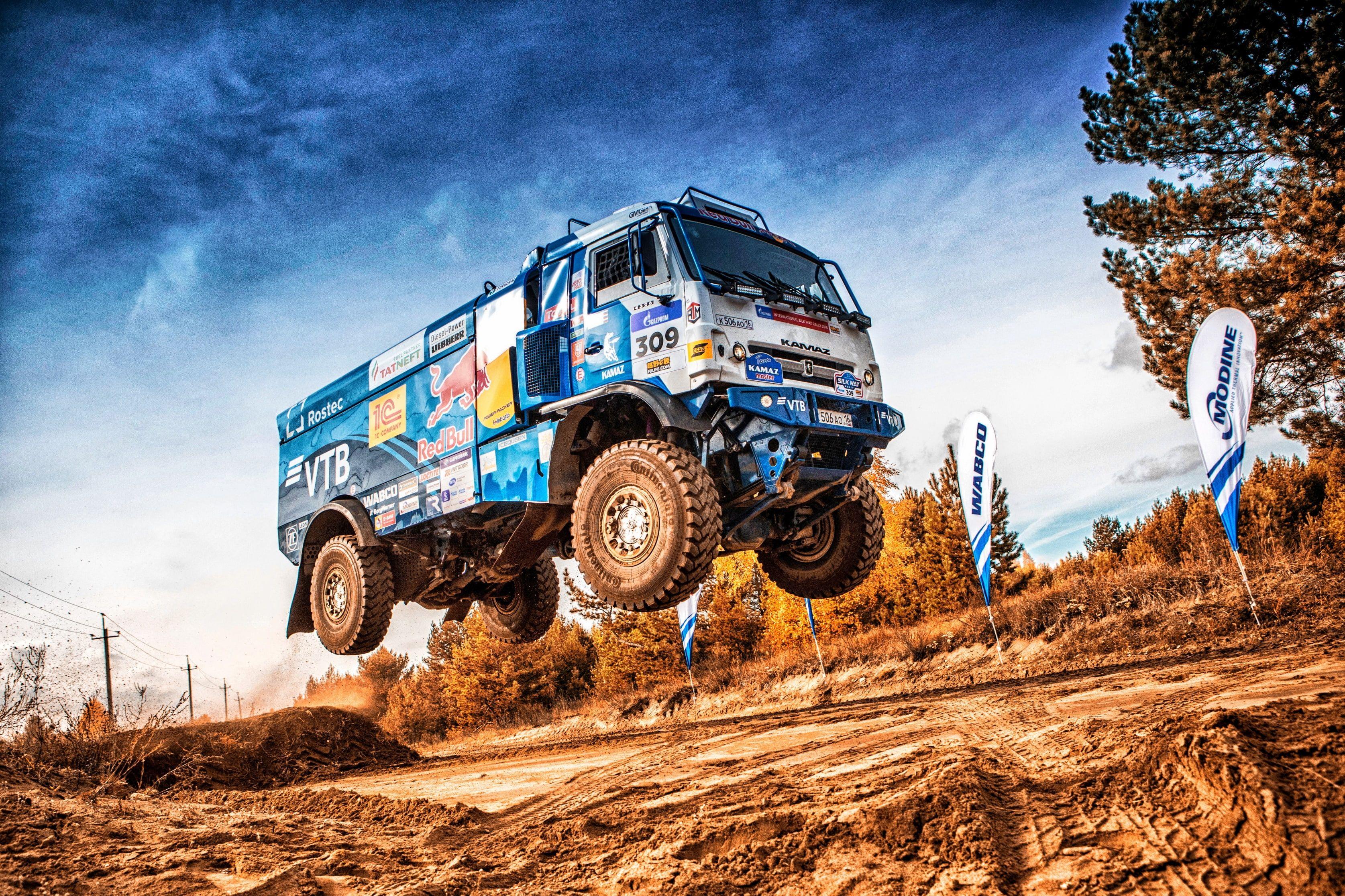 Racing Rally Truck Vehicle Dirt Jumping Blue Sky Kamaz Dutch Tilt 2k Wallpaper Hdwallpaper Desktop Trucks Rally Racing