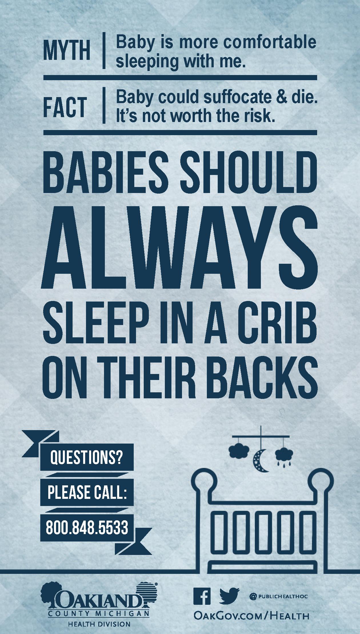 Babies should always sleep in a crib on their backs