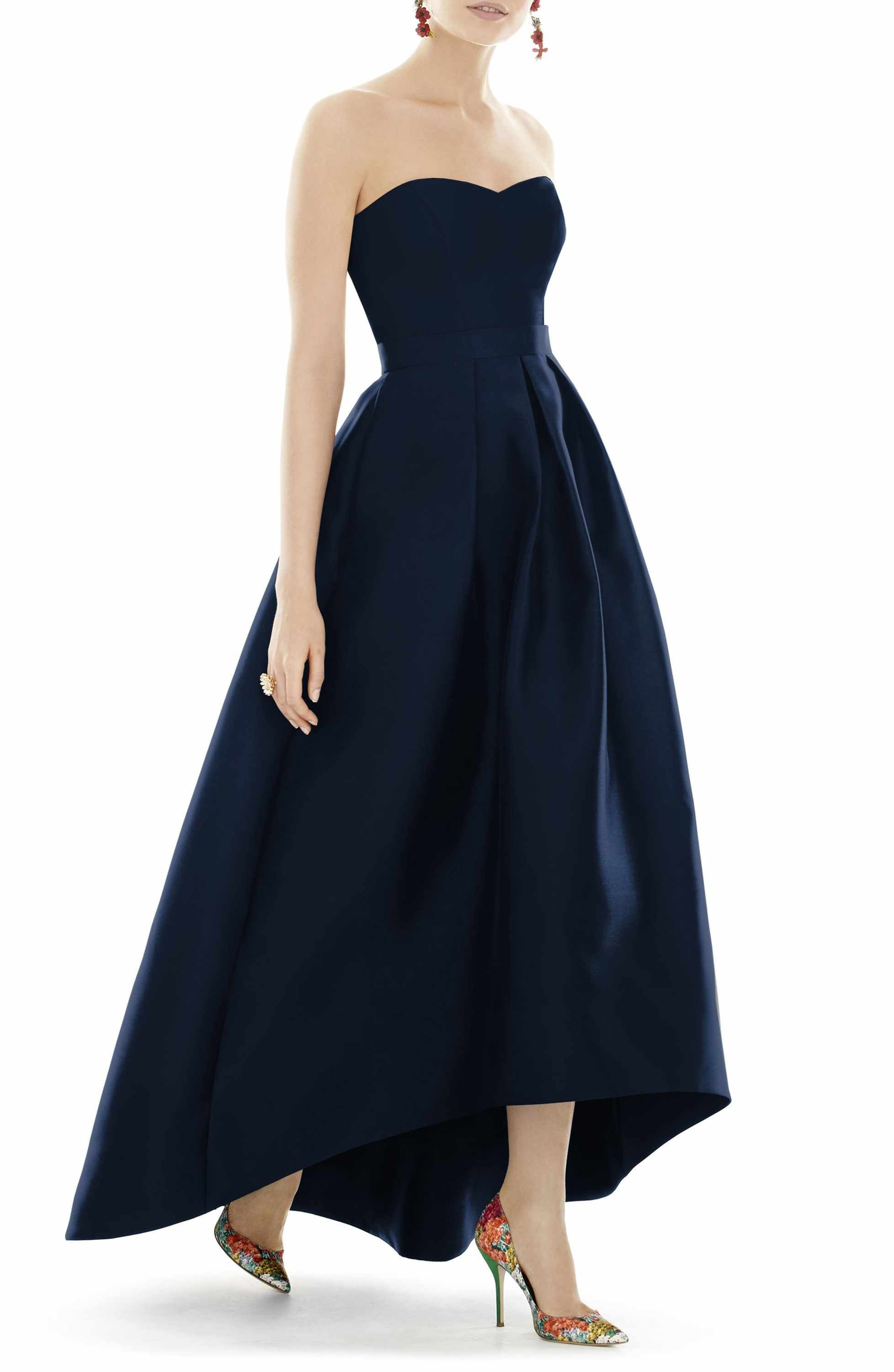 Main Image - Alfred Sung Strapless High/Low Sateen Twill Gown ...