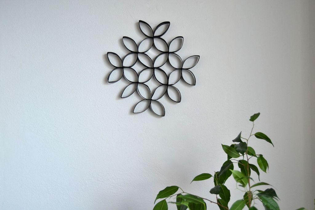 DIY art piece from toilet paper rolls