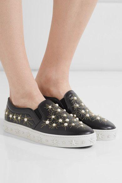 Cosmic Pearls leather slip-on sneakers Aquazzura y21mdJujU