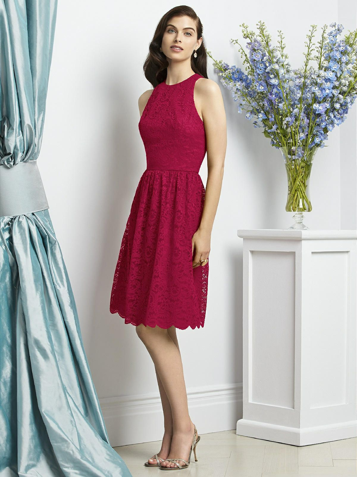 Dessy collection style 2939 lace bridesmaids and bridal parties dessy 2939 bridesmaid dress dessy 2939 is a cocktail length sleeveless marquis lace dress w jewel neckline and full shirred skirt dress available as solid ombrellifo Choice Image