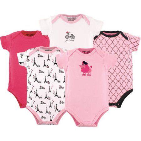 34120602a Luvable Friends Newborn Baby Girls Bodysuit 5-Pack