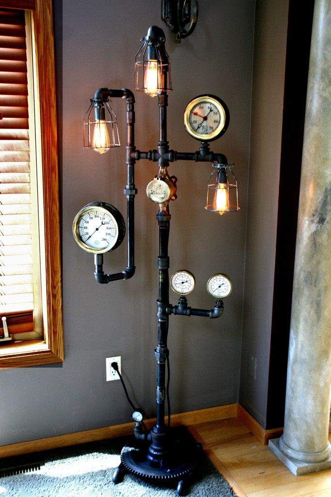 steampunk industrial steam gauge floor lamp 60 stehlampen beleuchtung und lampen. Black Bedroom Furniture Sets. Home Design Ideas