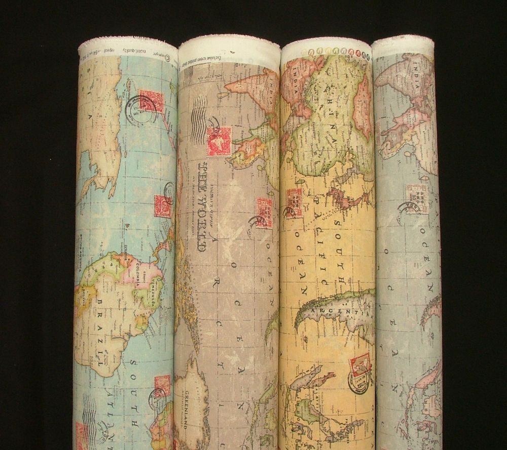 Atlas world globe map cotton linen fabric curtain blinds craft atlas world globe map cotton linen fabric curtain blinds craft quilting 4 colour gumiabroncs Gallery