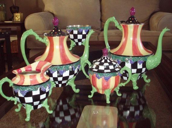 Painted Tea Set // Whimsical Painted Silver Tea Set // Silver Tea Set hand painted home decor #teasets