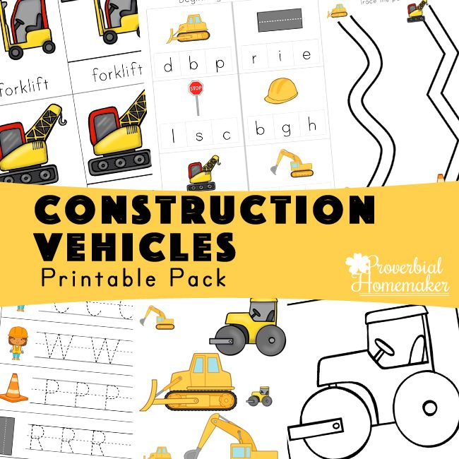 Construction Vehicles Printable Pack With Images Preschool
