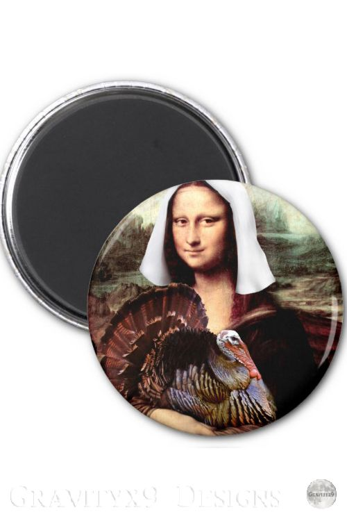 Thanksgiving Mona Lisa Pilgrim Magnet | Zazzle.com #thanksgivinggiftsforteachers