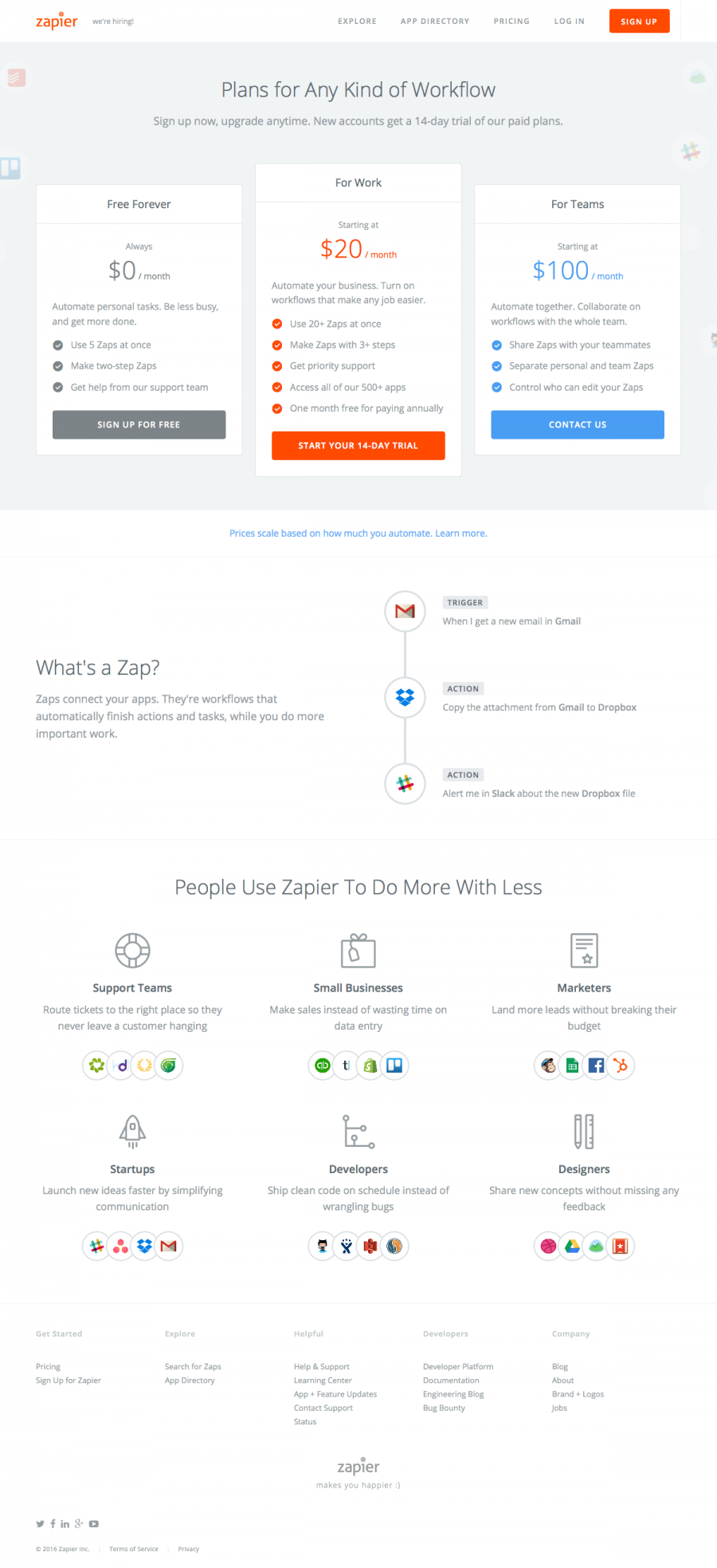 Zapier Pricing Page Find Saas Websites Inspiration