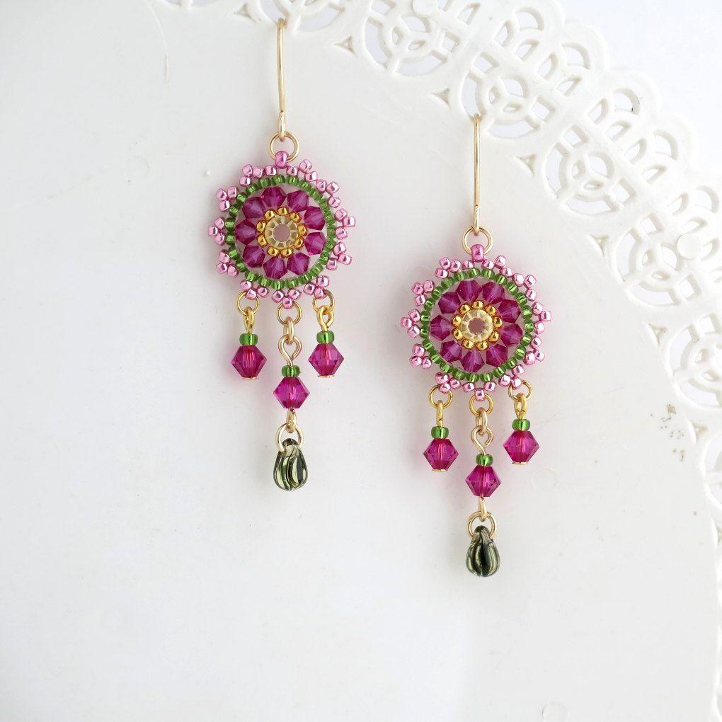 Beaded dangle earrings swarovski chandelier earring fuchsia beaded dangle earrings swarovski chandelier earring fuchsia earrings colorful chandelier earring pink arubaitofo Images