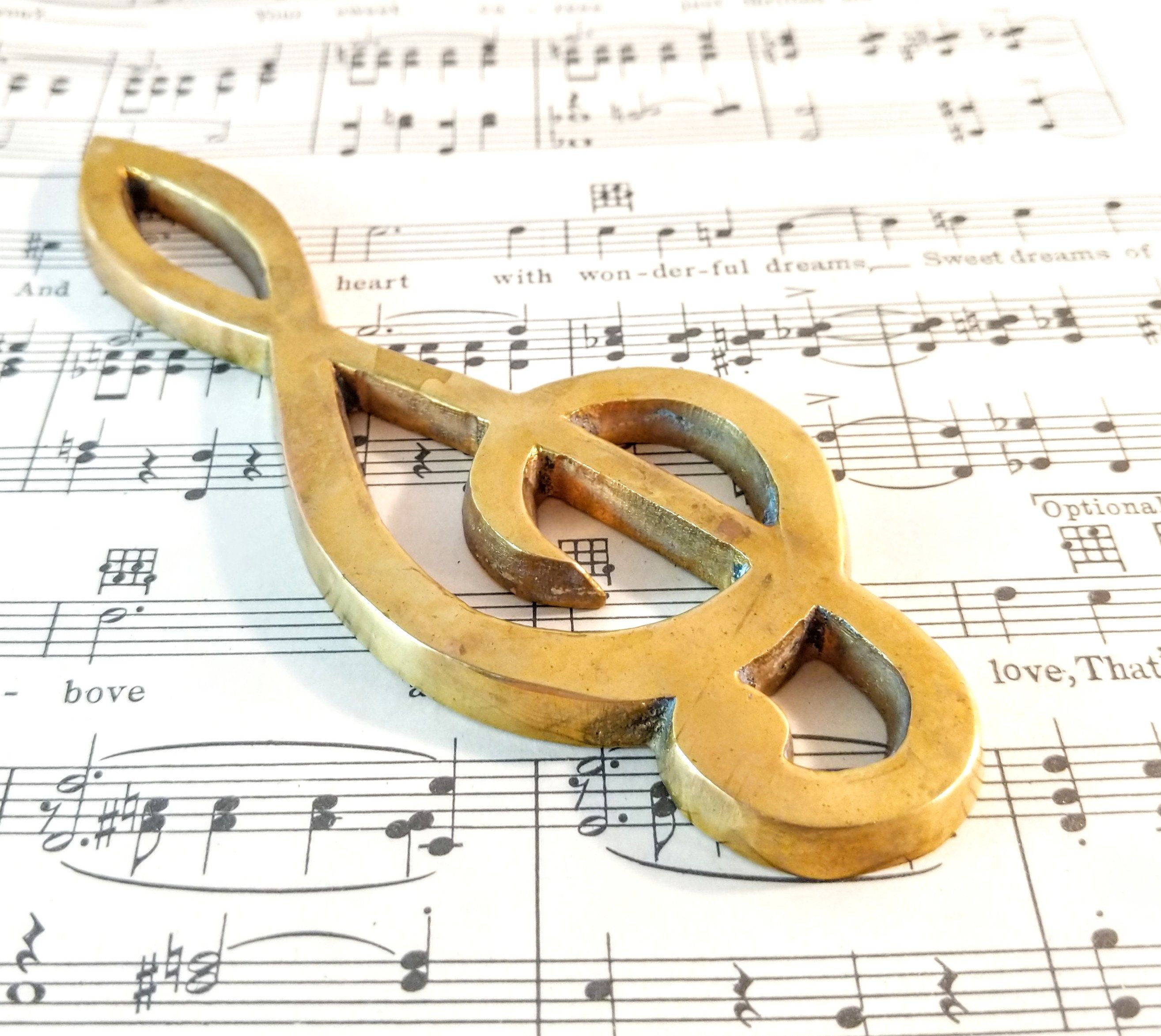 Vintage Solid Brass Treble Clef Symbol Paperweight Wall