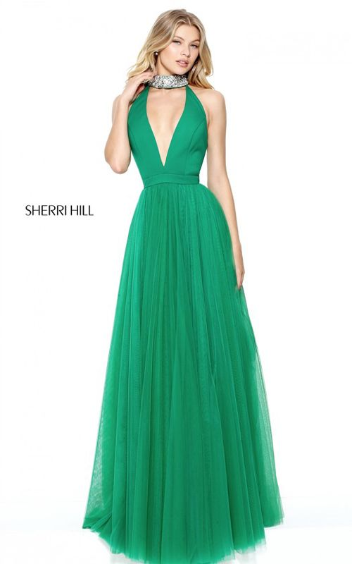 Emerald Sherri Hill 50840 A Line Beaded Long Prom Dress