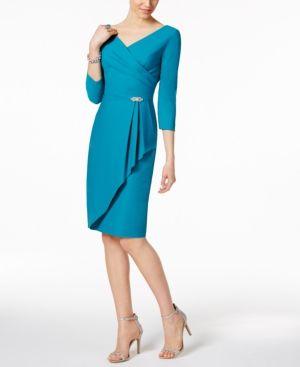 Alex Evenings Ruched Faux-Wrap Dress - Blue 10