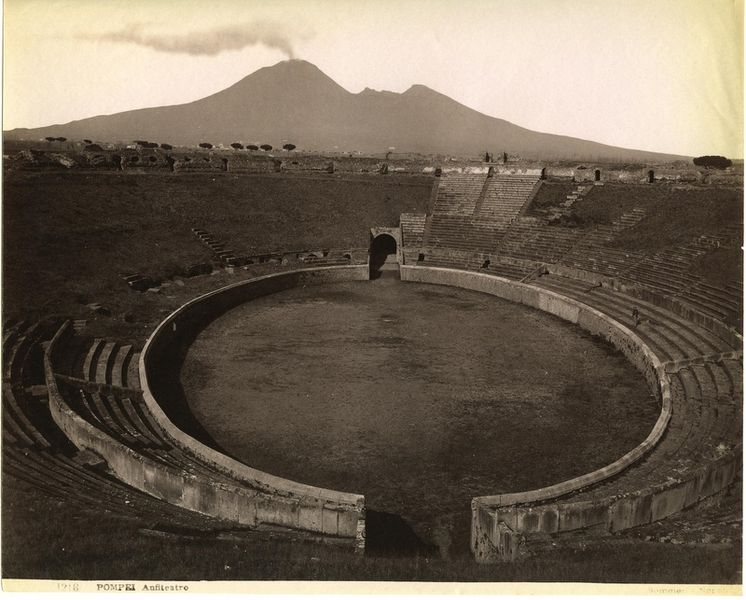 """Pompeii. Amphitheatre"": photo by Giorgio Sommer (1834-1914) via Wikimedia Commons."