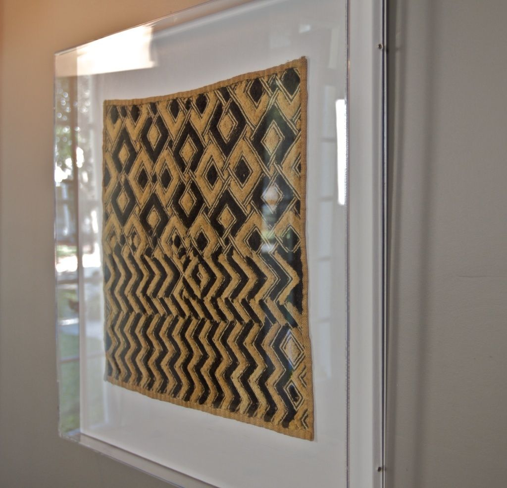 Framed African Kuba Cloth Textile Acrylic Kuba Cloth Textile Wall Art Textiles Artwork