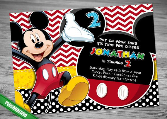 Free Printable Mickey Mouse St Birthday Party Invitations  Diy