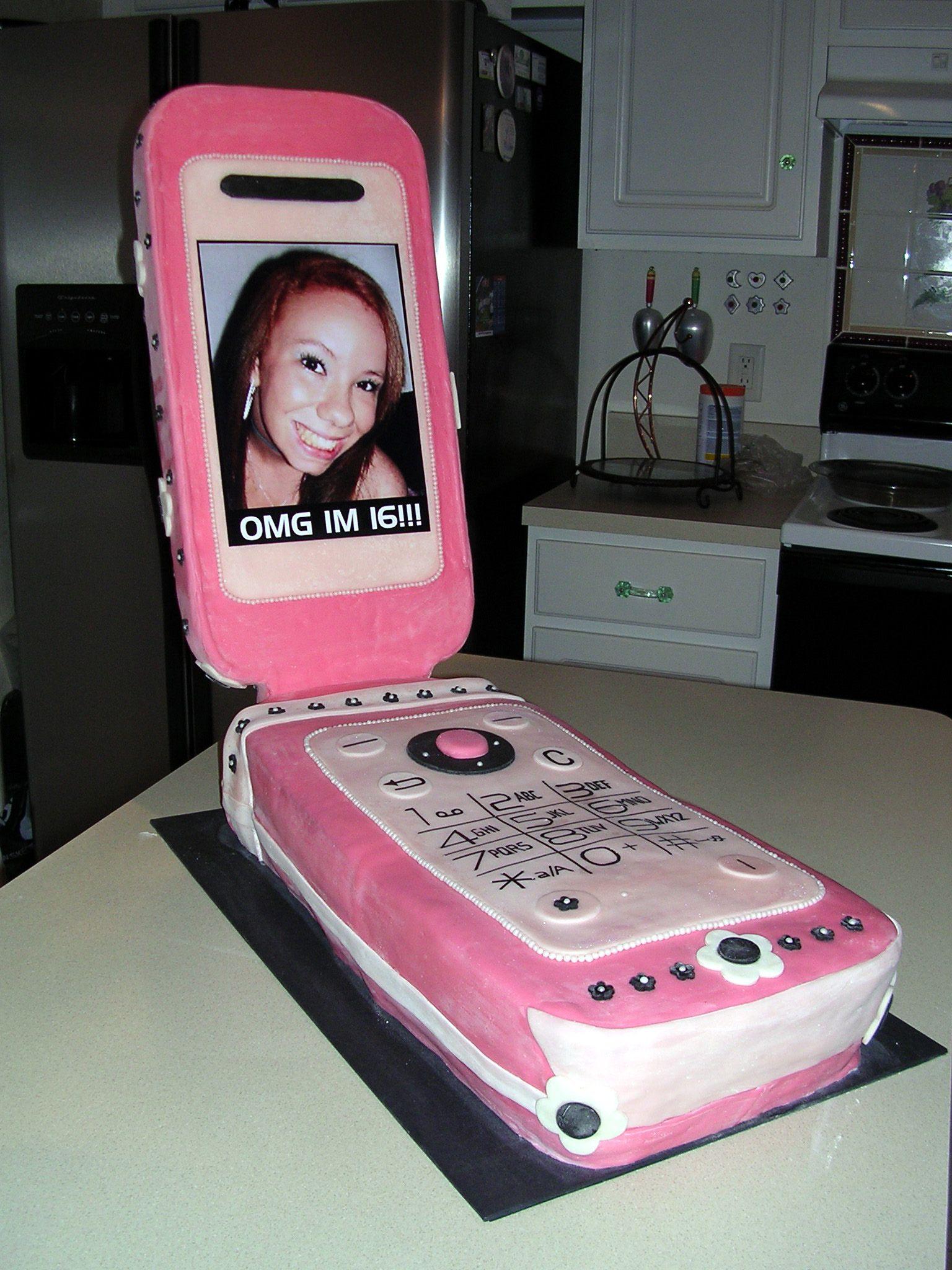 Cell phone cake sweet 16 birthday cake fondant cake