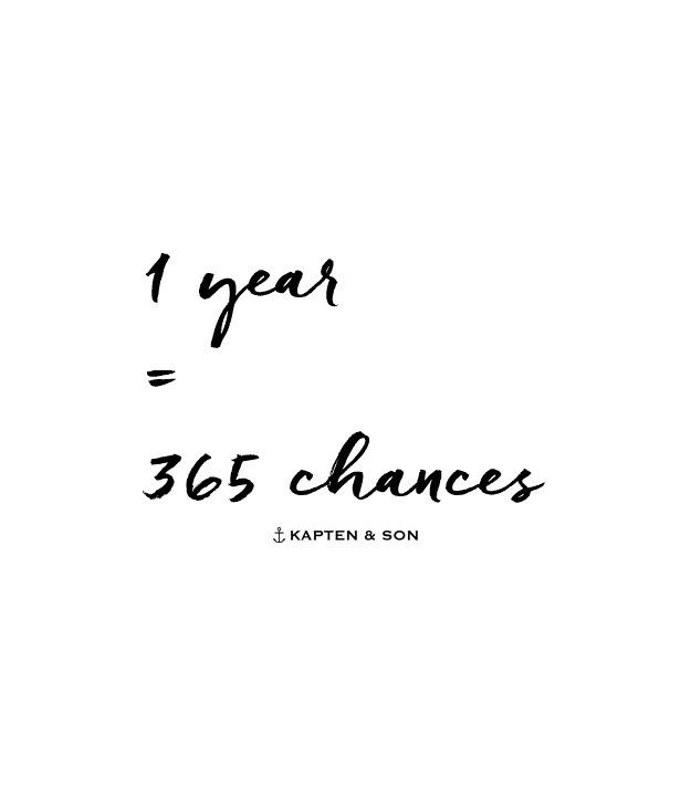 1 year = 365 chances. I tell this to my kids when they had a bad day ...