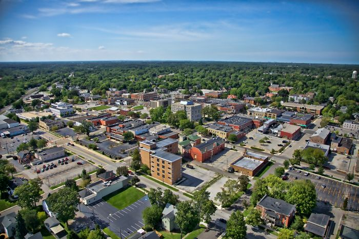 Aerial photo of downtown Valparaiso, Indiana in Northwest Indiana