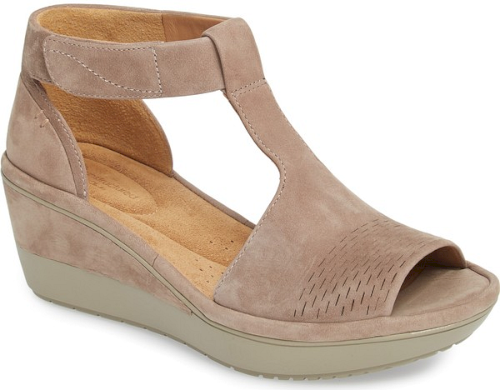 Clarks Wynnmere Avah T Strap Wedge Sandal In Grey A Contoured T Strap Ascends The Front Of An Ankle Wrap Sandal Craf Bridal Sandals Heels Womens Sandals Shoes