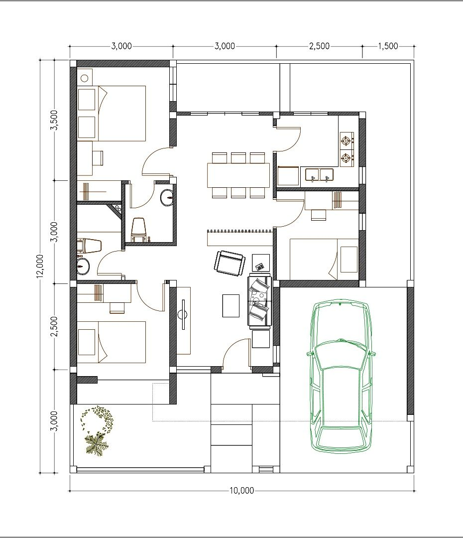 House Design 10x12 With 3 Bedrooms Terrace Roof House Plans 3d