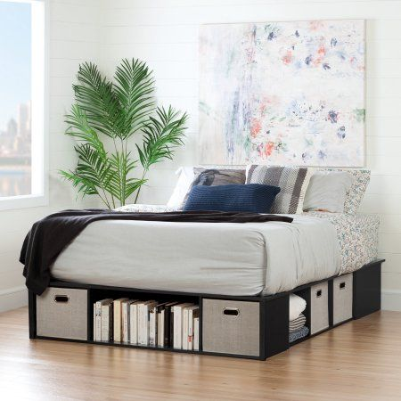 South Shore Flexible Black Oak Platform Bed With Storage And