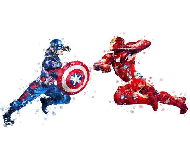 Ironman Watercolor Splatter print poster matte Marvel Avengers